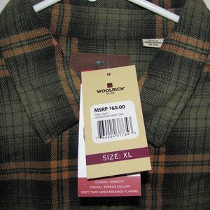 NEW Woolrich Green Orange Plaid Shirt Size XL